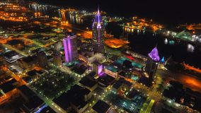 Ciudad aérea de la noche imagen de archivo libre de regalías