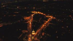 Ciudad aérea de la noche del tiro metrajes