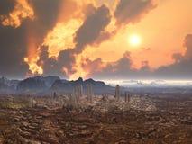 Ciudad abandonada en el planeta extranjero Fotos de archivo