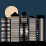 Ciudad abstracta con horizontes, la luna y las luces Imágenes de archivo libres de regalías