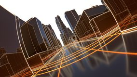 Ciudad abstracta 3D con las líneas luminosas y los edificios negros del espejo ilustración del vector