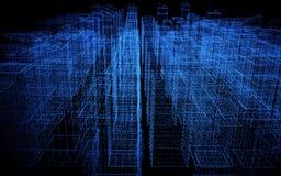 Ciudad abstracta de Digitaces hecha de puntos que brillan intensamente Rascacielos del asunto Edificios del holograma Estructura  libre illustration