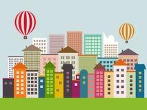 Ciudad abstracta de Eco con los edificios coloridos, globos del aire caliente, horizontes, globos del aire caliente, cielo azul Foto de archivo libre de regalías