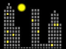 Ciudad abstracta Landspace en la noche con vector de la luna Imagen de archivo libre de regalías
