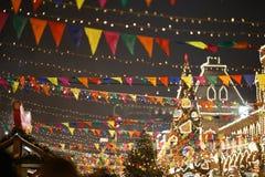Ciudad adornada con las banderas, guirnaldas Fotografía de archivo