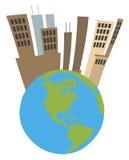 Ciudad alta encima de un globo ilustración del vector