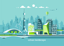 Ciudad amistosa verde de la energía y del eco Arquitectura moderna, edificios, rascacielos Ejemplo plano del vector Imágenes de archivo libres de regalías