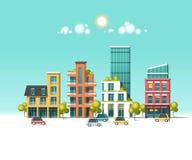 Ciudad amistosa verde de la energía y del eco Arquitectura moderna, edificios, rascacielos Ejemplo plano del vector Imagenes de archivo