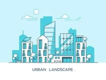 Ciudad amistosa verde de la energía y del eco Arquitectura moderna, edificios, rascacielos Ejemplo plano del vector estilo 3d Fotografía de archivo