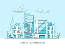 Ciudad amistosa verde de la energía y del eco Arquitectura moderna, edificios, rascacielos Ejemplo plano del vector estilo 3d Fotos de archivo libres de regalías