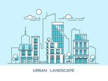 Ciudad amistosa verde de la energía y del eco Arquitectura moderna, edificios, rascacielos Ejemplo plano del vector estilo 3d Imagen de archivo libre de regalías
