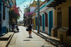 Ciudad Amurallada, Cartagena, Kolumbien stockbilder