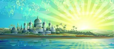 Ciudad antigua bajo los cielos azules ilustración del vector