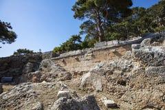 Ciudad antigua de Lycian de Arykanda Descripción del complejo del gimnasio foto de archivo libre de regalías