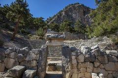 Ciudad antigua de Lycian de Arykanda Descripción del complejo del gimnasio imágenes de archivo libres de regalías