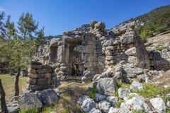 Ciudad antigua de Lycian de Arykanda Descripción del complejo del gimnasio imagenes de archivo