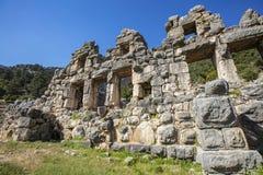 Ciudad antigua de Lycian de Arykanda Descripción del complejo del gimnasio fotos de archivo libres de regalías