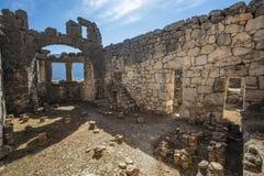 Ciudad antigua de Lycian de Arykanda Descripción del complejo del gimnasio foto de archivo