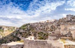 Ciudad antigua de Matera (Sassi di Matera), capital europea del Cu Foto de archivo libre de regalías