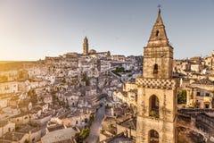 Ciudad antigua de Matera (Sassi di Matera) en la salida del sol, Basilicata, Italia Fotos de archivo libres de regalías