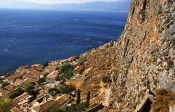 Ciudad antigua hermosa Monemvasia, Grecia Foto de archivo libre de regalías