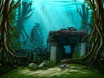 Ciudad antigua subacuática ilustración del vector