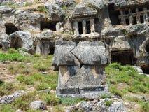 Ciudad antigua Tlos de Lycian de los entierros imagen de archivo