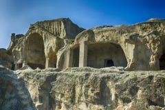 Ciudad antigua Uplistsikhe, región HDR de la cueva de Georgia Caucasian Imágenes de archivo libres de regalías