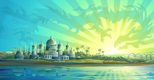 Ciudad antigua y un dragón del cielo Imagen de archivo libre de regalías