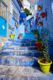 Ciudad azul famosa de Chefchaouen de Marruecos imagen de archivo