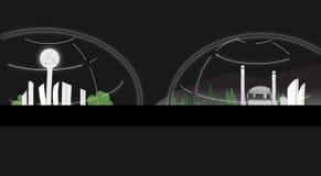 Ciudad bajo ejemplo de la bóveda en fondo negro libre illustration
