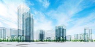 Ciudad bajo el cielo ilustración del vector