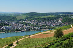 Ciudad Bingen en el valle medio del Rin Foto de archivo