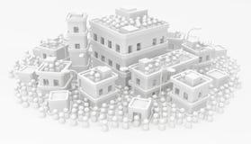 Ciudad blanca de los edificios de la muchedumbre densa libre illustration