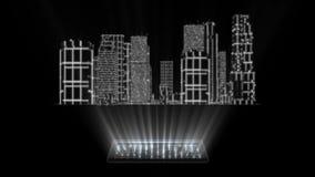 ciudad blanca del holograma de 3D Tron con el elemento de Loopable de la pantalla libre illustration