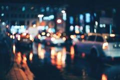 Ciudad borrosa en la noche Bokeh Fotografía de archivo