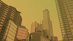 Ciudad brumosa, cielo anaranjado Fotos de archivo