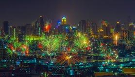 Ciudad céntrica de Bangkok del Año Nuevo de los fuegos artificiales de la celebración Foto de archivo