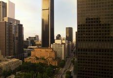 Ciudad céntrica del paisaje urbano de los edificios de Los Ángeles Foto de archivo
