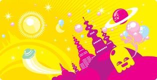 Ciudad cósmica Imagen de archivo libre de regalías