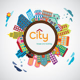 Ciudad, casa y edificio Fotografía de archivo libre de regalías
