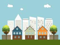 Ciudad colorida, casas para la venta/el alquiler Casas de las propiedades inmobiliarias?, planos para la venta o para el alquiler Fotos de archivo libres de regalías
