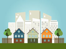 Ciudad colorida, casas para la venta/el alquiler Casas de las propiedades inmobiliarias?, planos para la venta o para el alquiler Foto de archivo libre de regalías