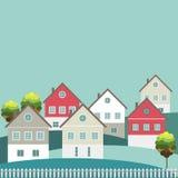 Ciudad colorida, casas para la venta/el alquiler Casas de las propiedades inmobiliarias?, planos para la venta o para el alquiler Imagenes de archivo