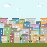 Ciudad colorida, casas para la venta/el alquiler Casas de las propiedades inmobiliarias?, planos para la venta o para el alquiler Imagen de archivo