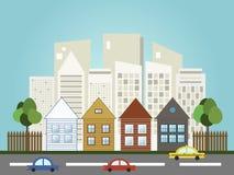 Ciudad colorida, casas para la venta/el alquiler Casas de las propiedades inmobiliarias?, planos para la venta o para el alquiler Foto de archivo