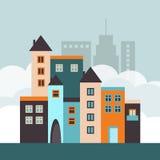 Ciudad colorida con las casas abstractas y los horizontes Concepto 6 de las propiedades inmobiliarias