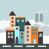 Ciudad colorida con las casas, la fábrica y la calle Fotos de archivo