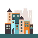 Ciudad colorida con las casas, la fábrica y la calle Imagen de archivo