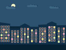 Ciudad colorida en el concepto de la noche Imágenes de archivo libres de regalías